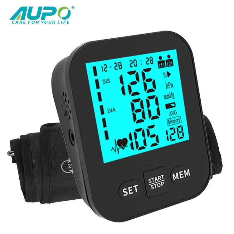 Лидер продаж на Amazon, устройство для измерения артериального давления Aupo с ЖК-дисплеем, цифровой измеритель артериального давления на руку с синей подсветкой, дешевый прибор для измерения артериального давления