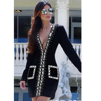 Top quality sexy bodycon fashion women 2019 custom winter maxi Low cut casual dresses club dresses long sleeve bandage dress