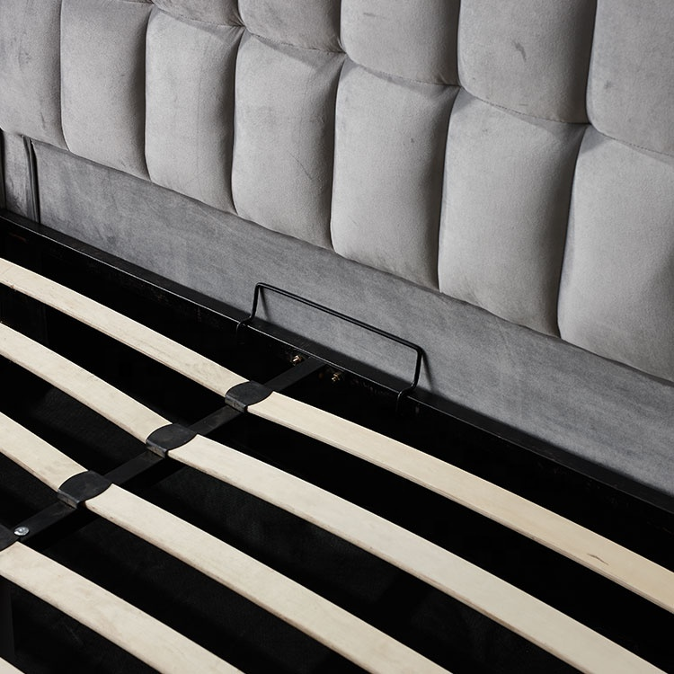 Royal Bed Fabric Upholstered Ottoman Storage Gas Lift Bed Grey Modern Bedroom Home Furniture Soft Bed Bedroom Funiture 10 Sets