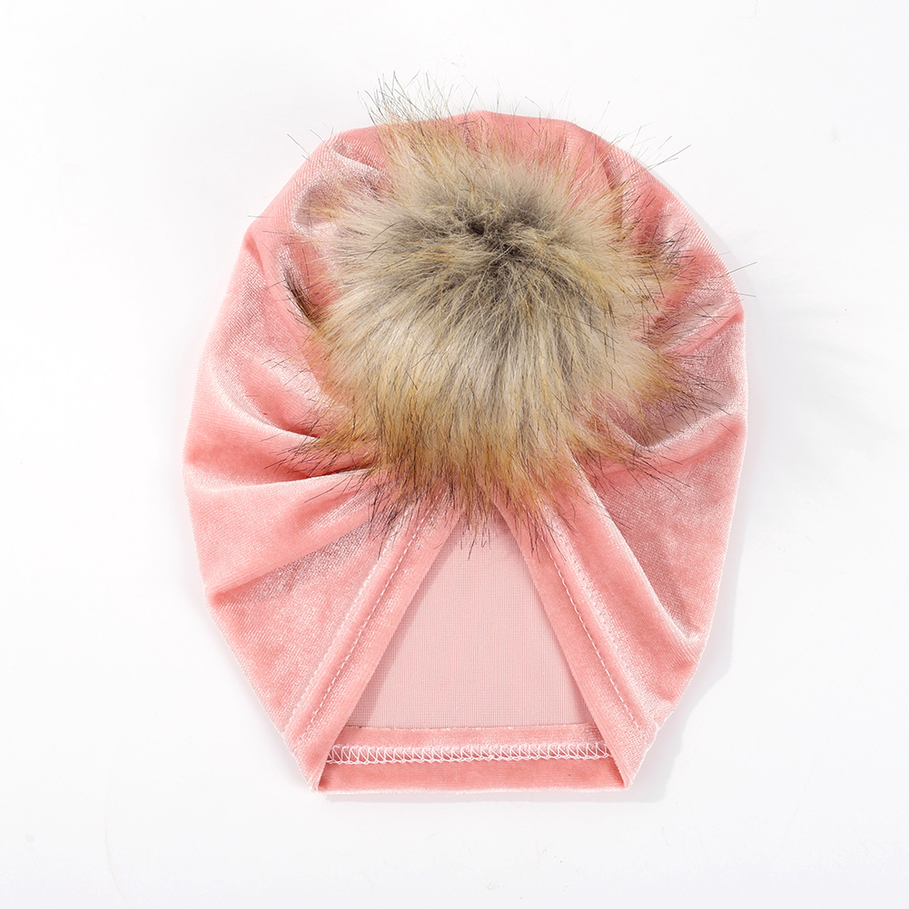 Baby Velvet Headwrap Bonnets Hat Girls Turbans Baby Turbans with faux Fur Photography Props Infant Beanie Baby Hair Accessories