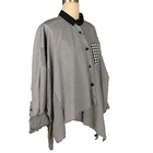 Wholesale Grey Plaid Long Sleeve Stripe Loose Thin Shirt For Women