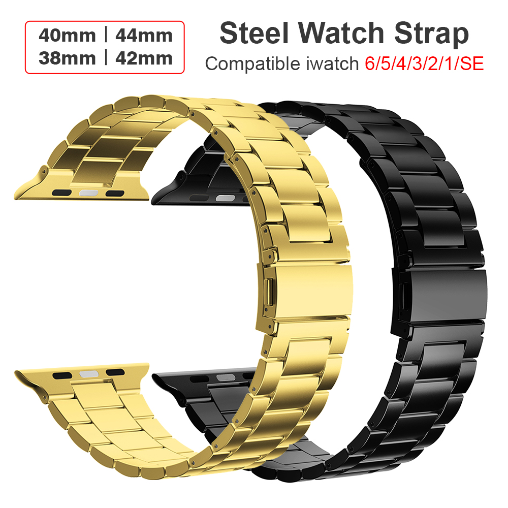 KeepWin 316L Ultrathin Metal 3 Beed Wristband Stainless Steel Watch Band Strap for Apple iWatch 6 4 5 4 3 2 1