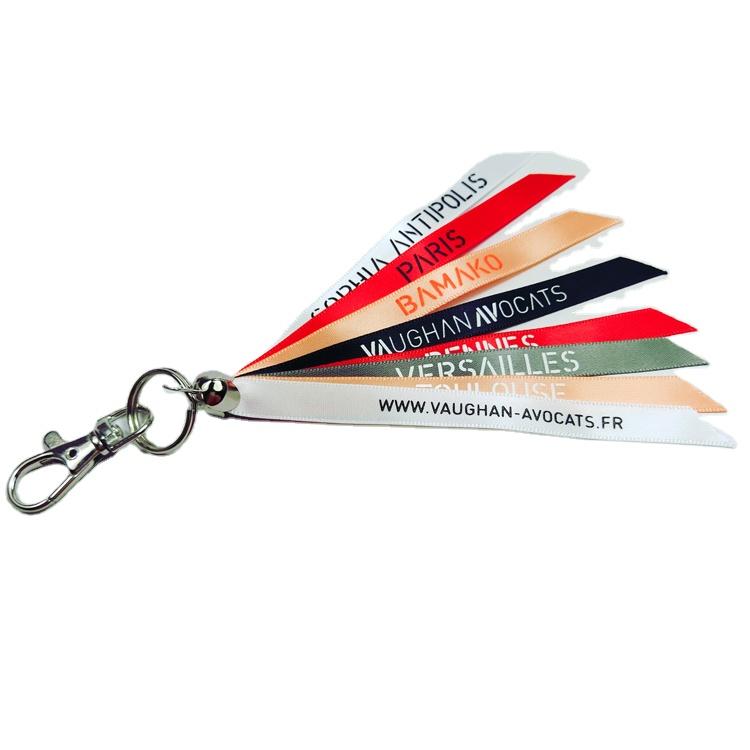 Factory price cheap colorful custom logo design ribbon keychain