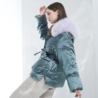 Coat Super Quality Big Natural Fur Collar Hooded Waist Contracted Thickened Puffy Down Coat