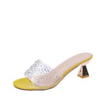 Женские шлепанцы на высоком каблуке; летняя повседневная обувь; женские модные прозрачные босоножки из искусственной кожи с кристаллами; ж...(Китай)