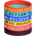 Motivational Inspirational Silicone Rubber Wristbands Bracelets Bulk for Men and Women Kids Adults