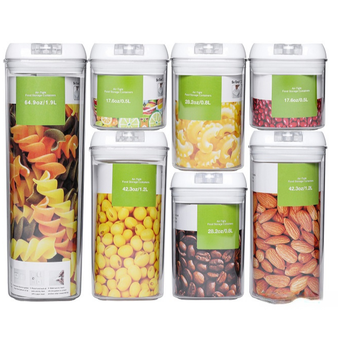 Eco Friendly 7 Pcs Set Retangle Clear Kitchen Dry Food Airtight Food Storage Containers