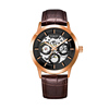 Rose case, black dial, brown leather