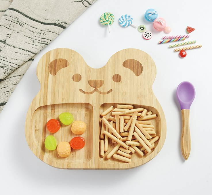 Bamboo Baby Plate Dessert Dish Children'S Tableware Baby Platter Cartoon Cutlery Set Kids Plate