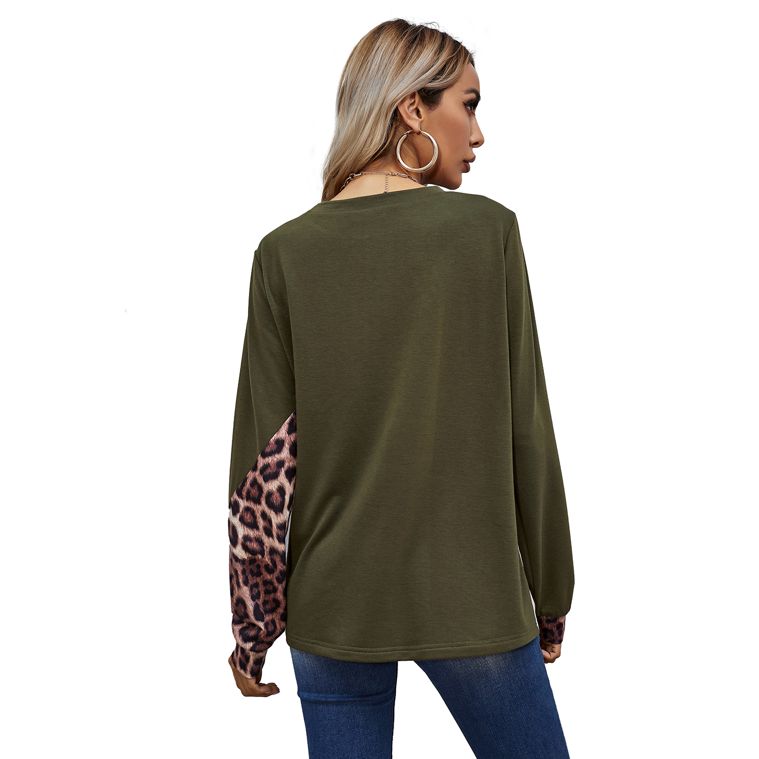 CUVWON Knitted Leopard Print Sexy & Club Casual Digital Printing Tops For Women
