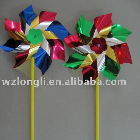 multicolor PET plastic holographic kids toy windmill garden pinwheel