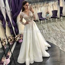 Роскошные свадебные платья трапециевидной формы с длинными рукавами из тюля 2020 изысканные кружева аппликация v-образный вырез Формальные ...(Китай)
