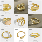 Sterling Silver Jewelry Wholesale Silver 18K Gold-Plated Smooth Drop Shaped Ring 925 Sterling Silver Opening Adjustable Size Female Ring Wdding Jewelry Wholesale