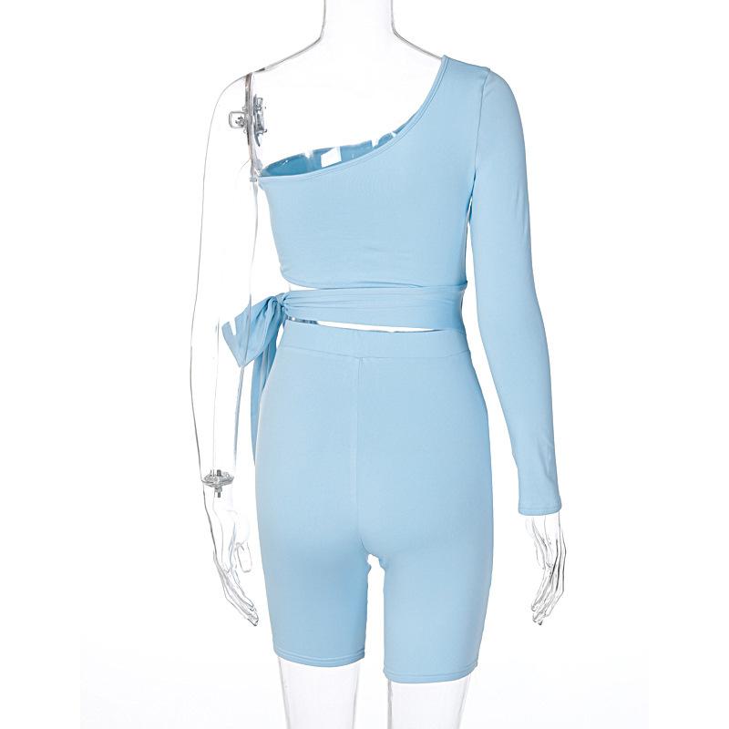 Новое поступление 2021, Женский облегающий комплект из 2 предметов со шнуровкой и вырезами, летняя одежда, Женский комплект из двух предметов, велосипедный короткий комплект