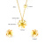 Flower 24k Gold Filled Diamond Ladies Girls Cute Necklace Earring Stainless Steel Jewelry Sets