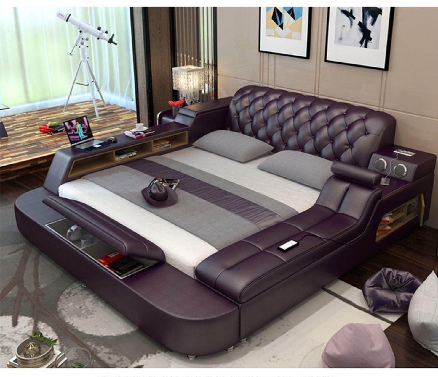 Modern smart furniture home sleeping multi-function soft genuine italian  leather  purple bed