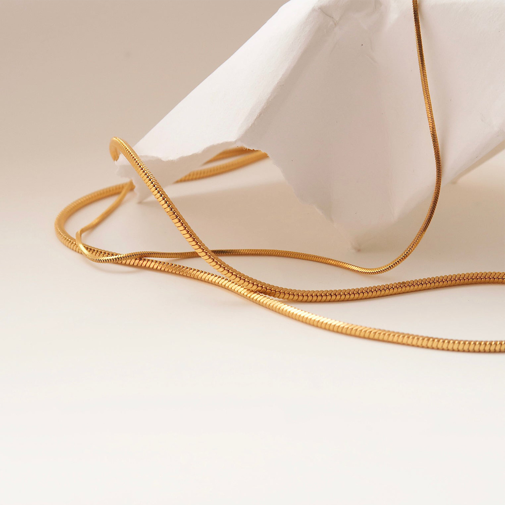 Delicate 18K Gold Filled Thin Skinny Snake Chain Necklace Stainless Steel Layering Choker Cecklace for Women