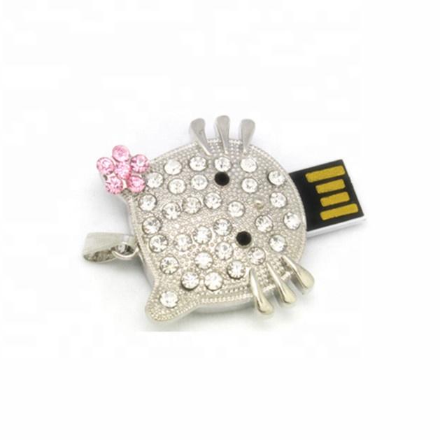 Hello Kitty crystal Necklace gift USB flash Drive Crystal cat jewelry USB pen drive - USBSKY   USBSKY.NET
