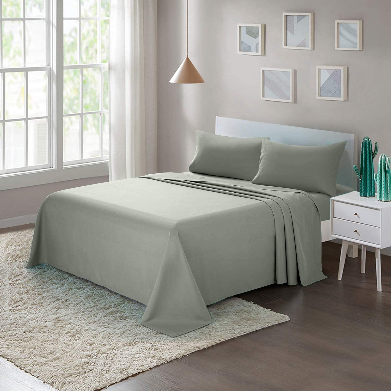 Juego de sábanas Tela de microfibra cepillada Ropa de cama King de 4 piezas