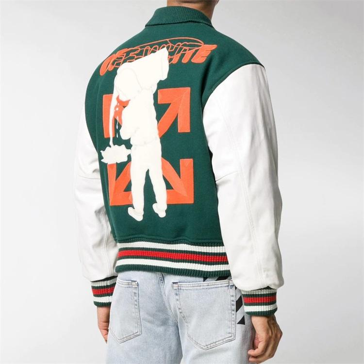 Custom chenille embroidery leather sleeve baseball letterman varsity jacket for men
