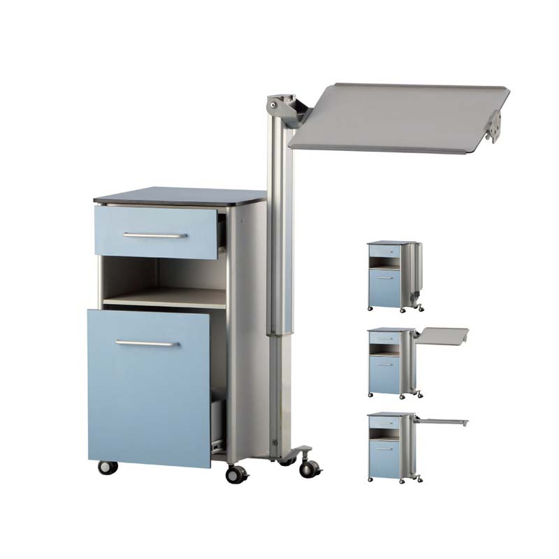 Manufacture Cheap Price Hospital Medical ABS Bedside Locker with Inbuilt Over Bed Table