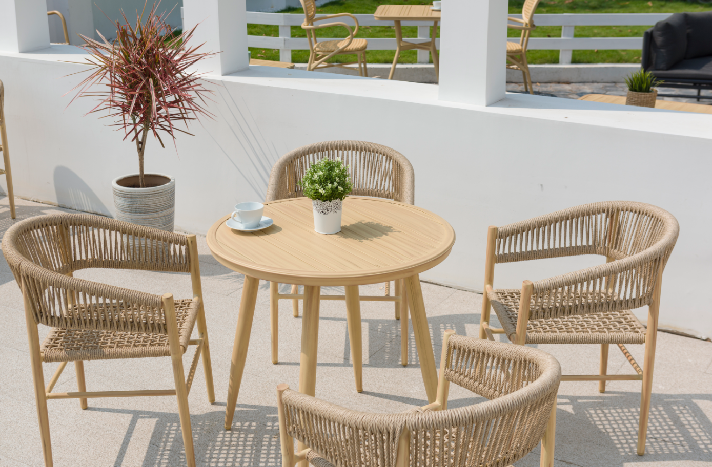 Outdoor Furniture Outdoor Rattan Bistro Cafe Chairs