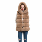Wholesale Genuine Hooded Fox Fur Vest For Women Winter Thick Warm Fur Gilet Lady Waistcoat S1715