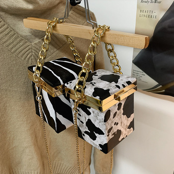 Evening Clutch Bag for Women Zebra Pattern Square Box Crossbody Bags Crossbody Shoulder Handbags Chains Wedding Clutch Purse Bag