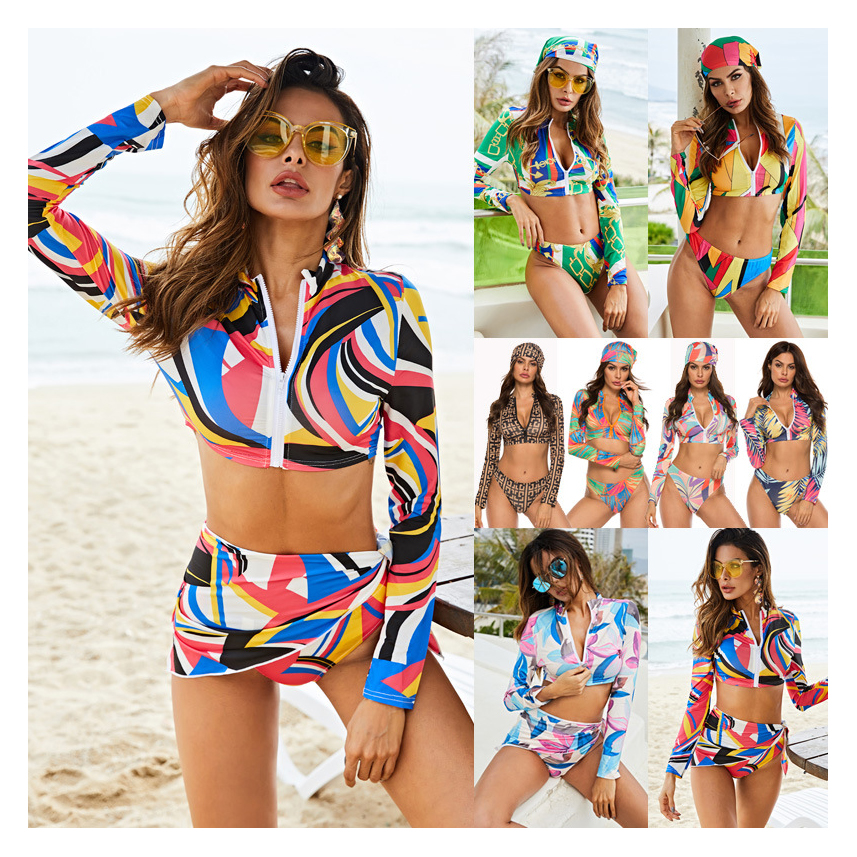 M12 2020 popular 3 pieces bathing suit woman printing swimsuit beach cover up with headband