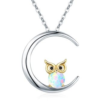 Sterling Silver Opal Owl Necklace Crescent Moon Pendant for women