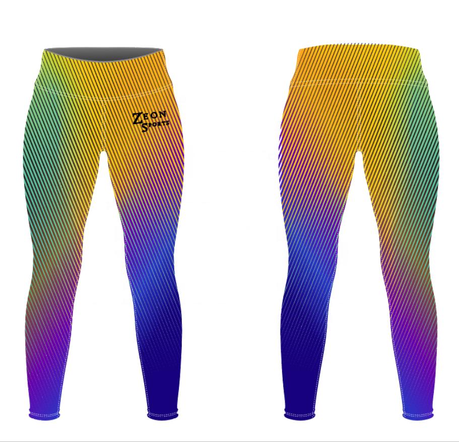 Оптовая продажа, индивидуальные градиентные цвета, Радужный дизайн, защита от УФ, экологичные Леггинсы для йоги, Комплект бюстгальтеров