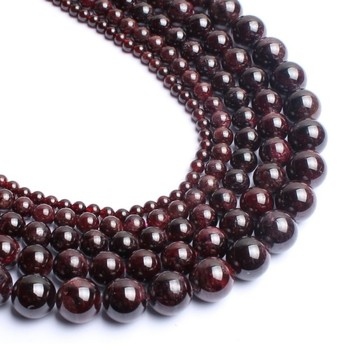 Wholesale 4/6/8/10/12mm Natural Stone Dark Red Garnet Round Loose Beads for Jewelry Handmade Diy Bracelet