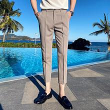 Мужские костюмные брюки, модные деловые брюки для повседневной носки, тонкие брюки для свадьбы, офиса, 2020(Китай)