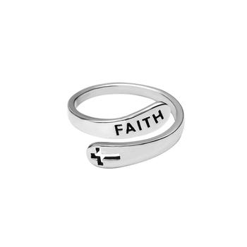 Christian Jewelry 925 Sterling Silver Open Adjustable Religious Faith Cross Rings