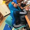 long blue human hair wigs