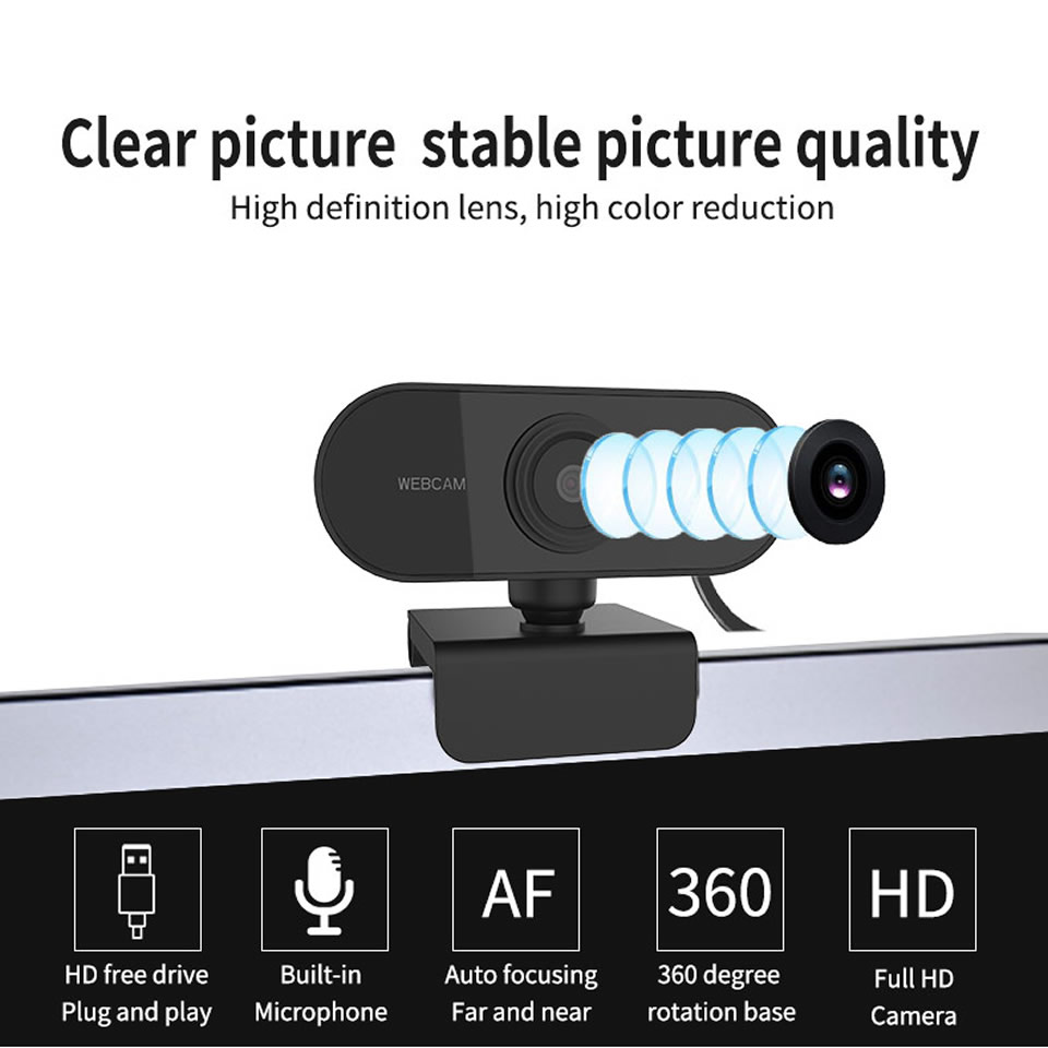 HD 1080P USB Webcam Mini Computer PC Web Camera with Microphone Rotatable for Live Broadcast Video Calling Conference Work
