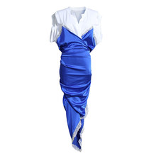 Женское платье EAM, синее платье с коротким рукавом и треугольным вырезом, весенне-летняя мода 2020 1U315(Китай)