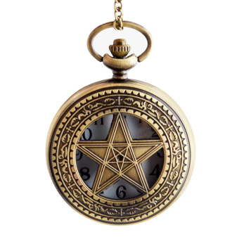Pocket Watch Clock Hour Fob With Chain Supernatural Steampunk Pocket Watch Wind Up Pendant Mechanical Pentagram Pocket Watch