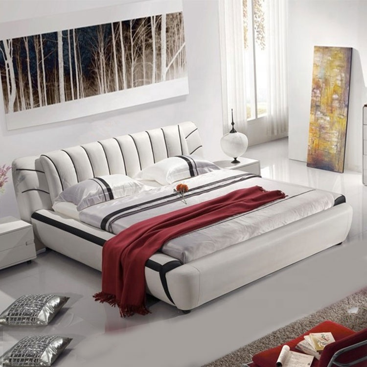 high quality beauty white colour home bed hot sale queen king size bed luxury furniture  bed
