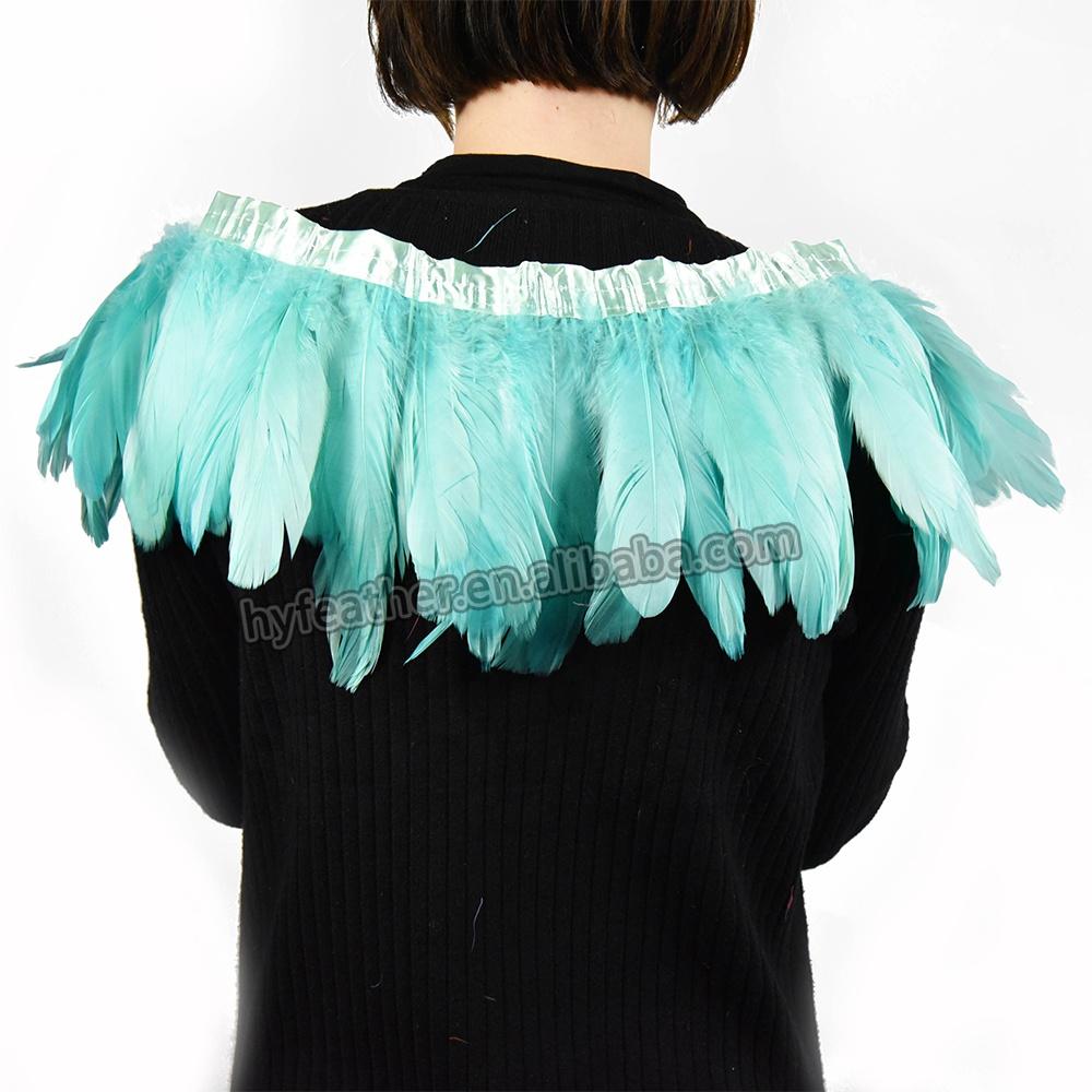 Оптовая продажа, окрашенные разноцветные золотые гусиные перья, бахрома, карнавальные перья, отделка зелеными перьями