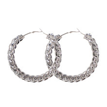 Женские винтажные серьги-кольца с цепочкой, простые популярные металлические серьги с-образной формы золотого цвета, ювелирные изделия в К...(Китай)