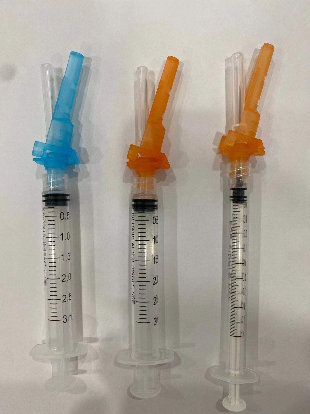 Disposable retractable 3 parts luer lock safety vaccination syringe with safety needle
