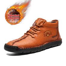 Мужские повседневные ботинки Hombres, черные кожаные ботинки с высоким берцем ручной работы, винтажные теплые кроссовки, большой размер 39-50, 2020(Китай)