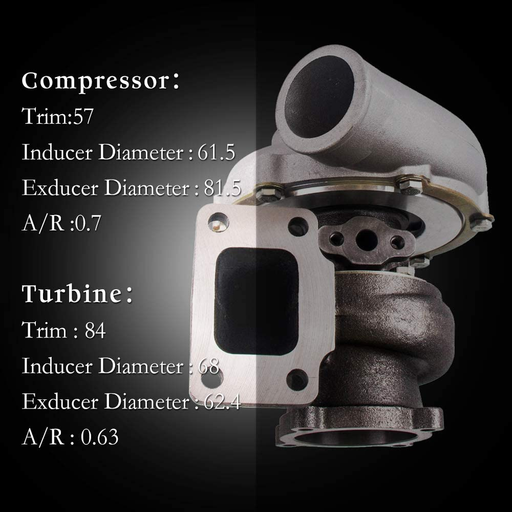 Oil Cooled maXpeedingrods GT35 GT3582 GT3582R Turbo Charger Anti-Surge Compressor AR.70//63 600HP Universal Turbocharger External Wastegate T3 Flange for 3.0L-6.0L Engines Water