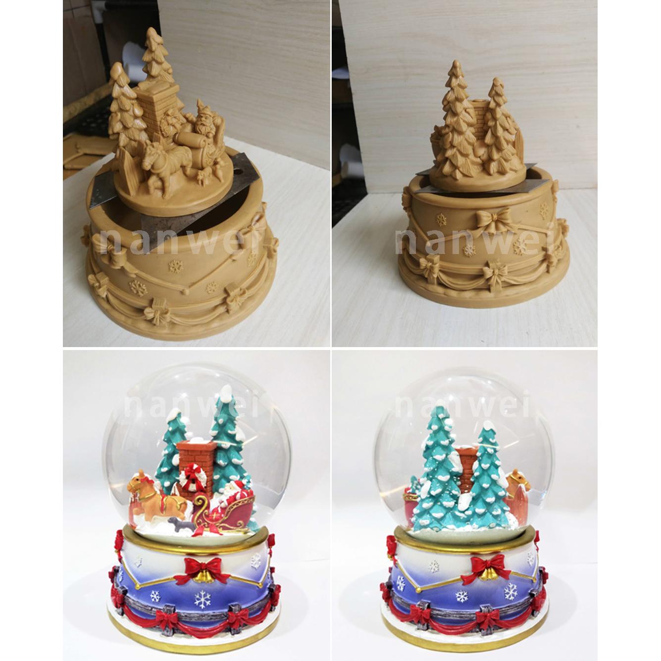 Hot Sale Nanwei Resin Custom Made Christmas Snow Globe with Music