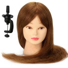 """22 """"100% настоящие человеческие волосы для девочек, манекен, голова для причесок, салон, Парикмахерская модель парика, кукольные волосы(Китай)"""