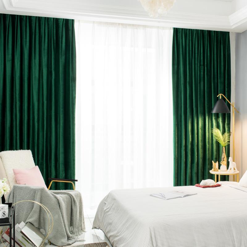 Velvet Curtain 2020 New American Retro Shading Bedroom Guest Velvet Gold Dark Green Malachite Green Flat Window Rod Pocket Plant Buy Velvet Gold Velvet Dark Green Malachite Green Velvet Pom Pom