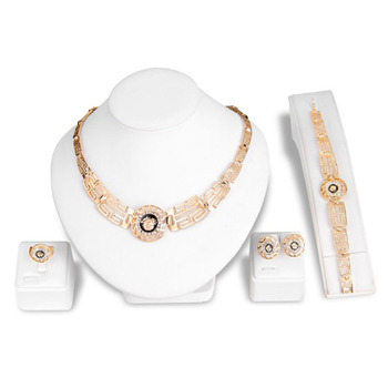Set Necklace Bridal Gold 18k Plated Costume Women African Wedding Bride Jewelry Sets