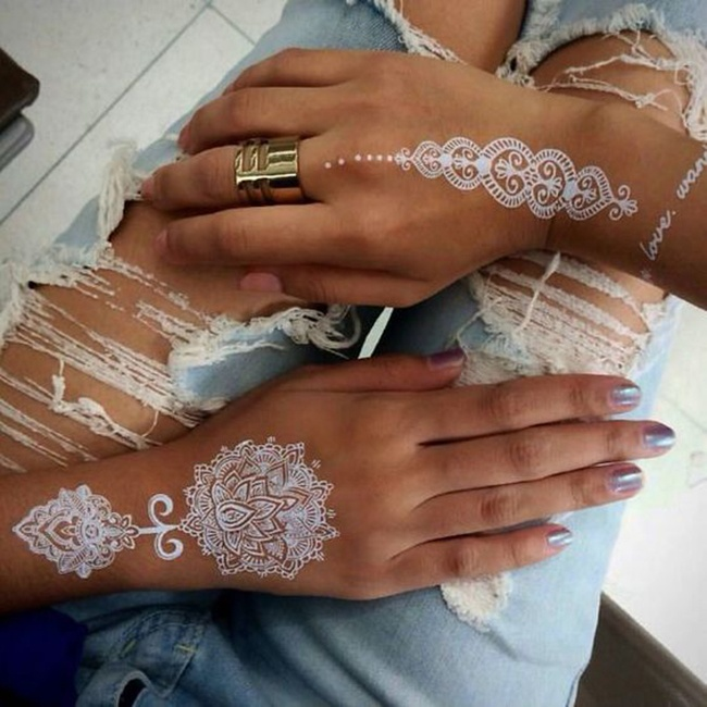 Custom Special Wedding White Temporary Tattoo Henna