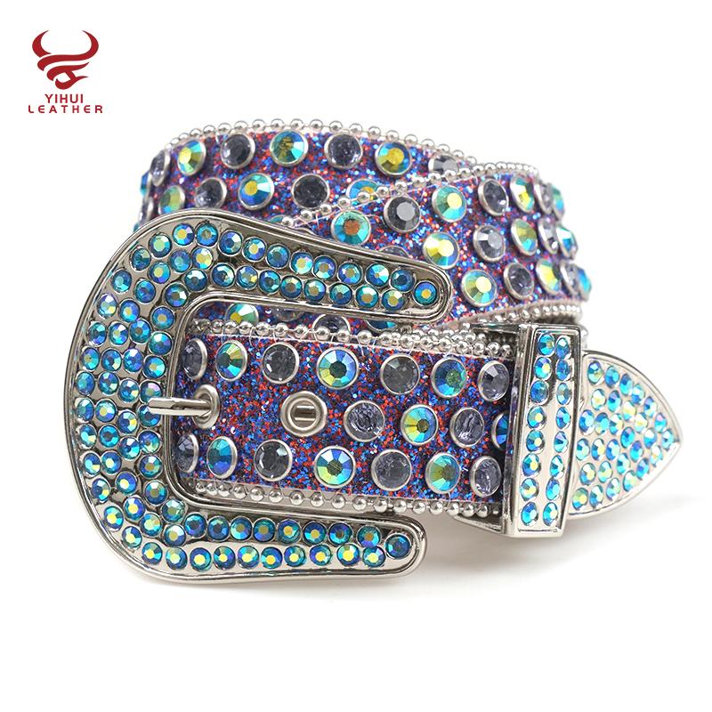 Manufacture Famous Brand Genuine Leather Belts Shiny Bling Designer Rhinestones Belt